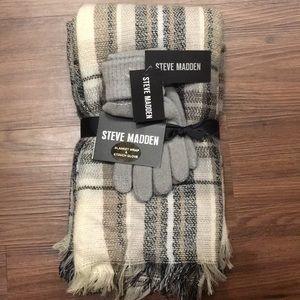 Steven Madden blanket wrap and gloves